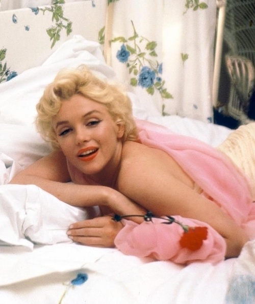 marilyn-monroe-009-in-bed-with-red-flower