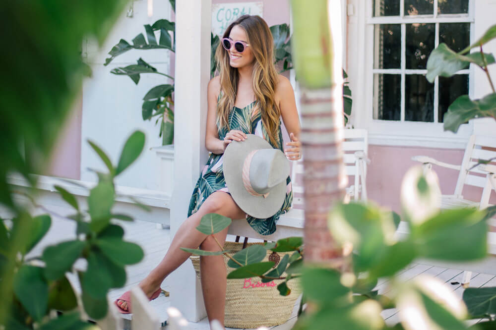 Платье с принтом пальмы