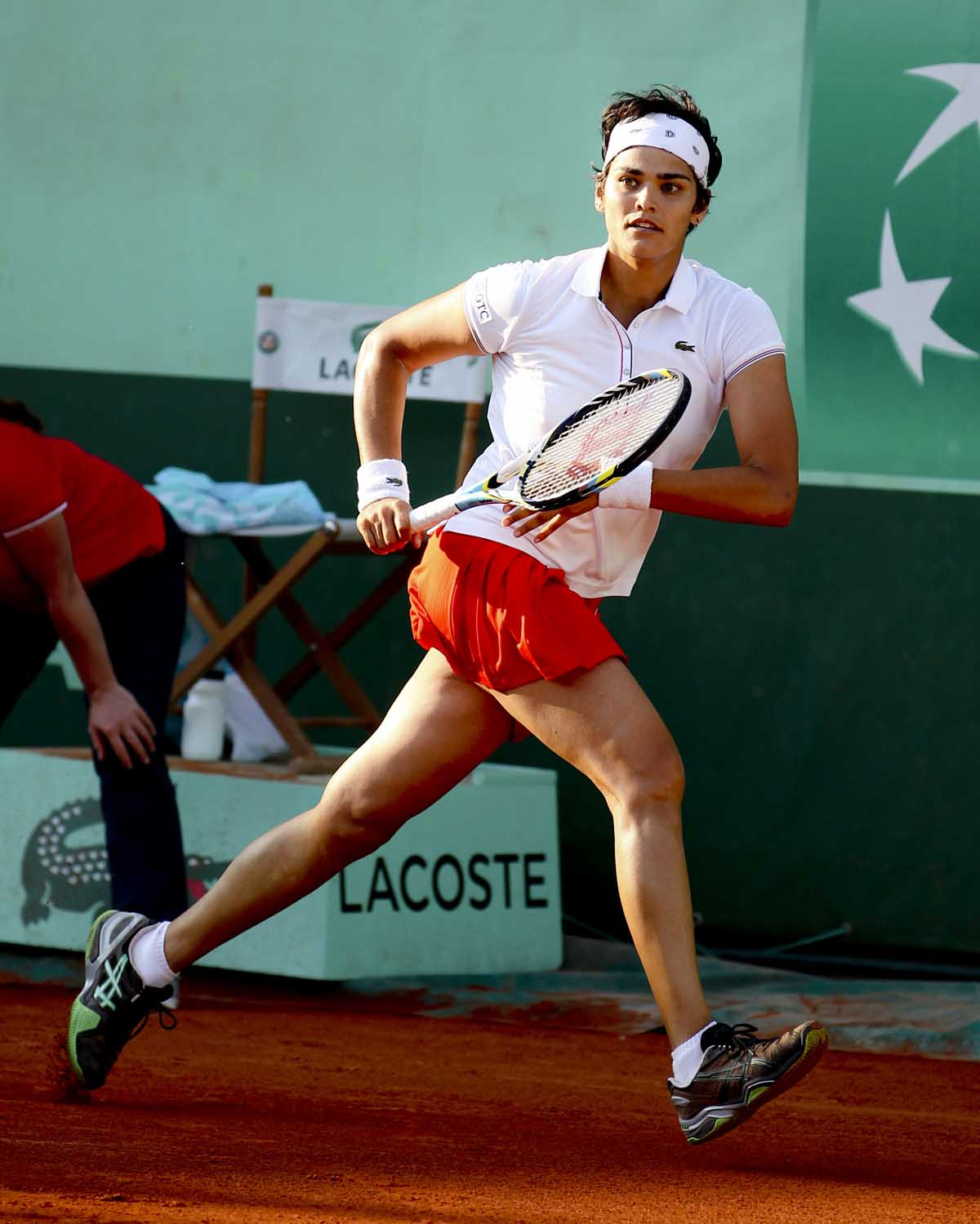 Eleni Danilidou of Greece in action during the 2012  Roland Garros Tennis Championships.