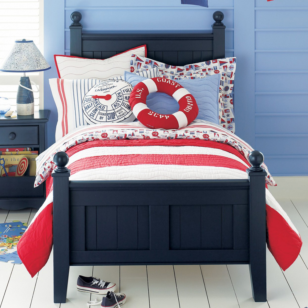 Light-Navi-Boys-Themed-Bedroom-Ideas-With-Bright-Navy-Blue-Walls-With-matching-bright-navy-blue-pillow-plus-navy-blue-wooden-bed-and-desk-with-red-and-white-bed-cover-decor-ideas-kids-room-teens-room