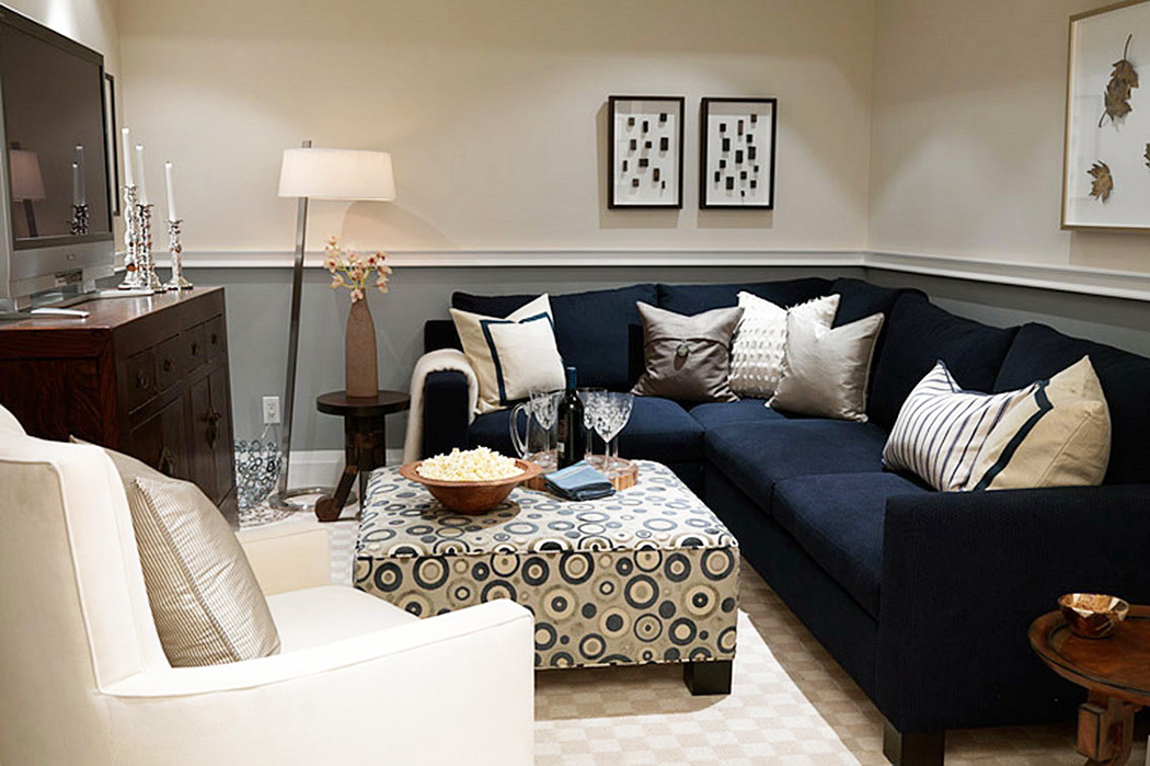 living-room-gray-and-white-themed-navy-living-room-ideas-with-modular-black-l-shaped-fabric-sofa-furniture-that-have-white-pillows-and-retro-style-square-shaped-table-on-the-beige-carpet-also-unique-r