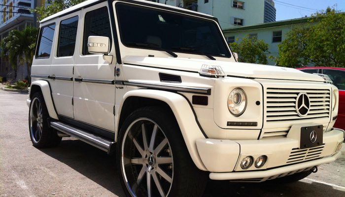 white mercedes G wagon steel rims
