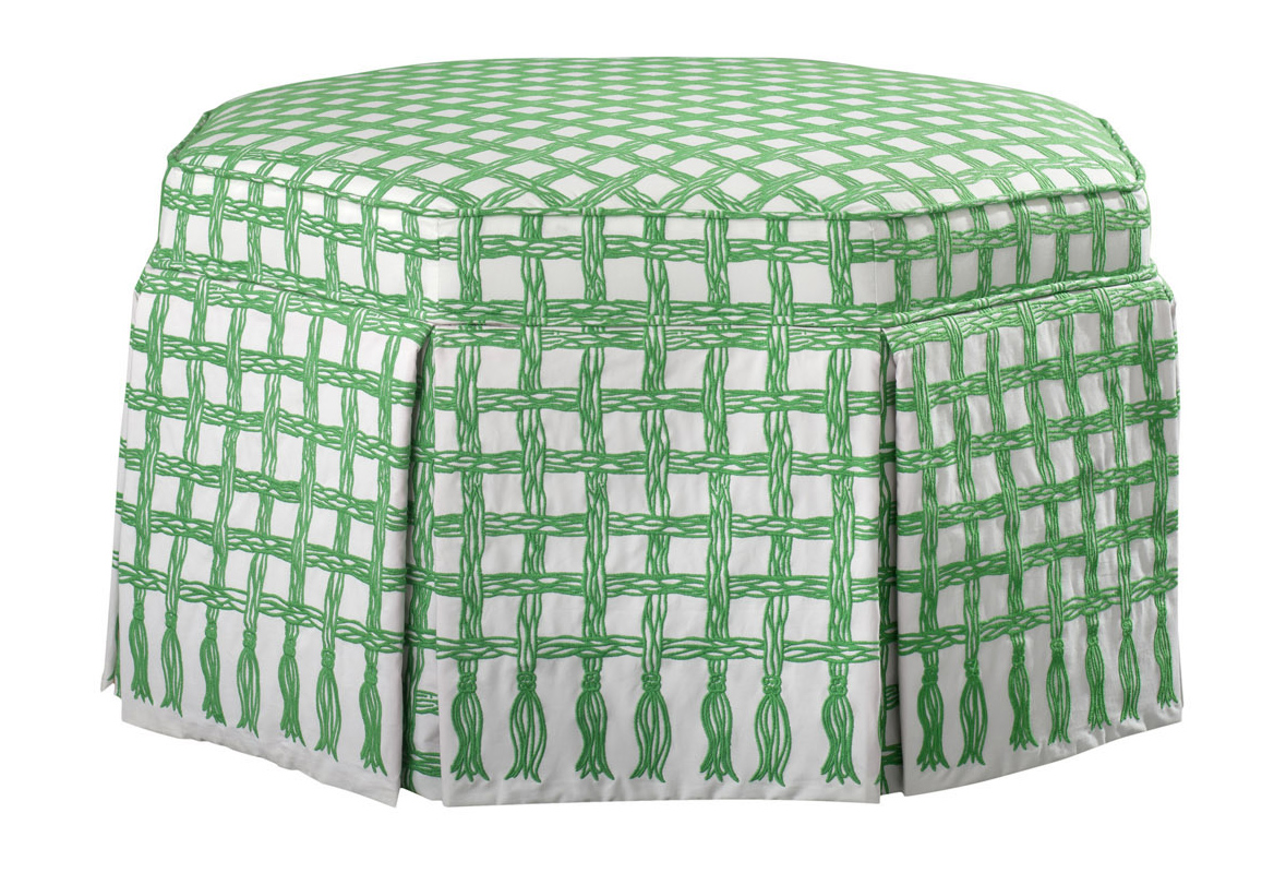 Lilly Pulitzer Morgan Ottoman In a Twist Lifeguard fabric green white trellis COCOCOZY